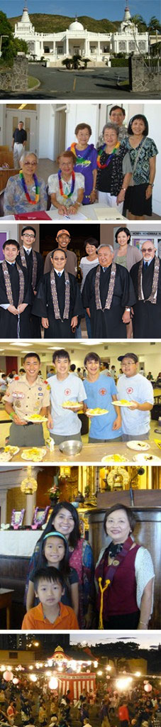 vertical image collage - temple, Project Dana, ministers, scouts, BWA generations, Obon