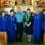 Hawaii Betsuin Choir in front of the altar