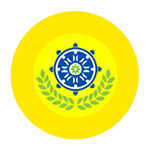 PBA logo with blue wheel of dharma inside concentric gold and yellow circles