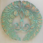 copper wisteria design mounted on temple