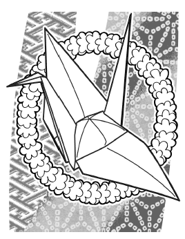 black-and-white drawing of an origami crane