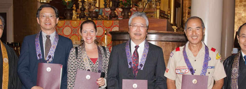 ministers' lay assistants hold their certificates, with Bishop Matsumoto and Rimban Muneto