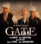 three monks on movie cover for GATE movie