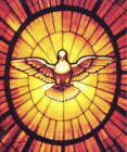 stained glass style image of a flying dove