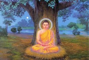 Shakyamuni Buddha sitting under a Bodhi Tree.