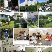 photo collage of volunteers working outside and inside by Ruth Tokumi