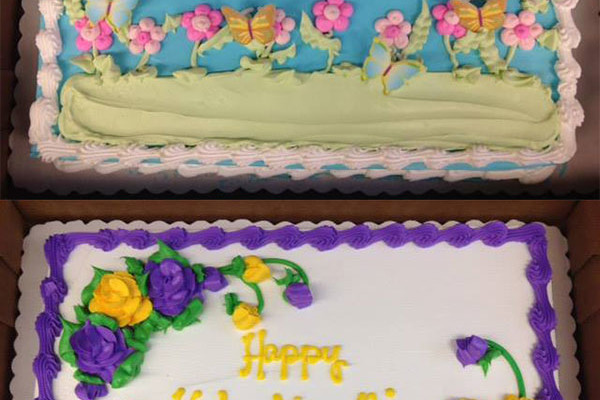 two decorated sheet cakes, one for Eshinni and one for Kakushinni