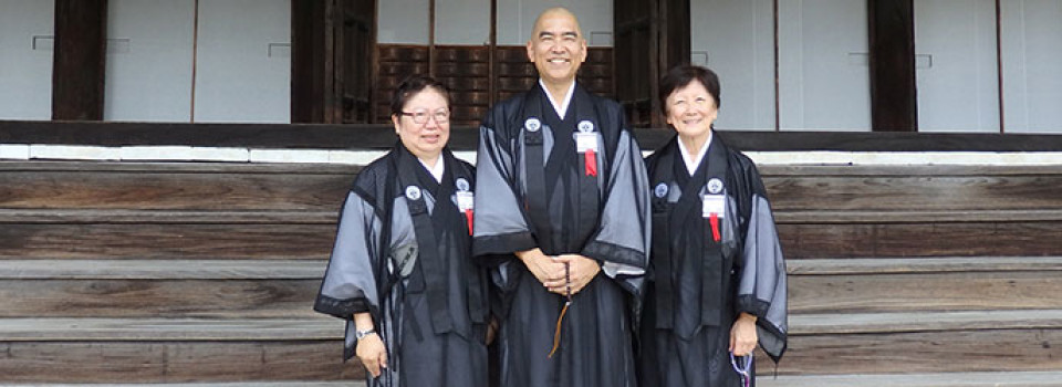 Charlene Kihara (Hawaii Betsuin), Kerry Kiyohara (Moiliili Hongwanji), and Barbara Brennan (Hawaii Betsuin) in robes at Honzan