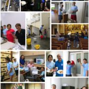 photo collage of Betsuin ohana cleaning the temple inside and out