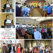 collage of photos Rev. Tomioka's last English dharma talk before moving to Puna