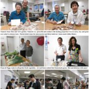 photo collage of people selling produce and other items at the BWA Mini Market