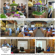 photo collage by Ruth Tokumi of Betsuin Buddha Day Service 2017 (hanamido, dharma talk speakers, etc.)