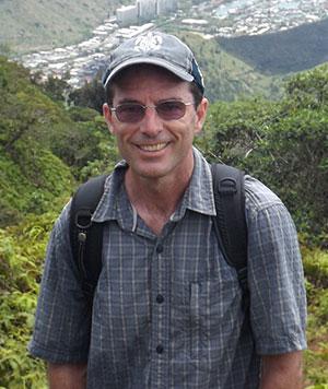 David Atcheson on Kuliouou Ridge with Hawaii Kai in background