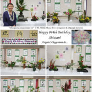 photo collage of calligraphy and flower arrangements with instructor