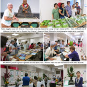 photo collage of Shinran statue, BWA MiniMarket, and art displays in social hall