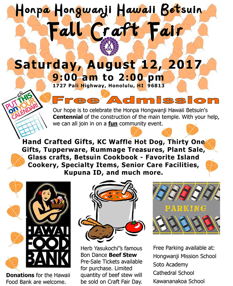 Hawaii Betsuin Fall Craft Fair flyer