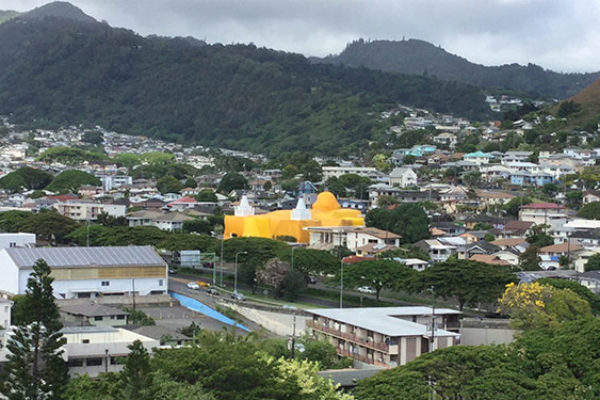 Hawaii Betsuin tented for fumigation, as viewed from Queen Emma Gardens apartment building