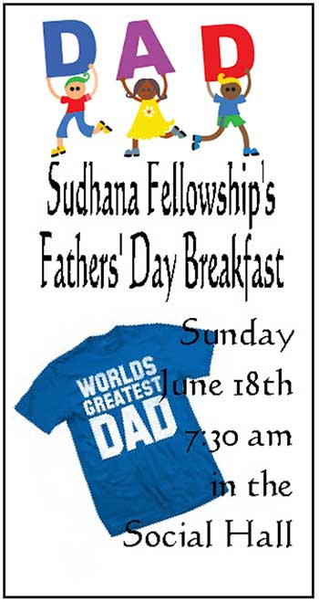 Sudhana Fellowship Father's Day Breakfast Goji ad
