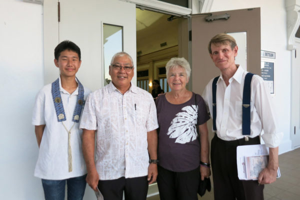 Pieper and Lois Toyama with PBA student and Director of Advancement Rudiger Ruckmann before the Peace Day Interfaith Celebration 2017