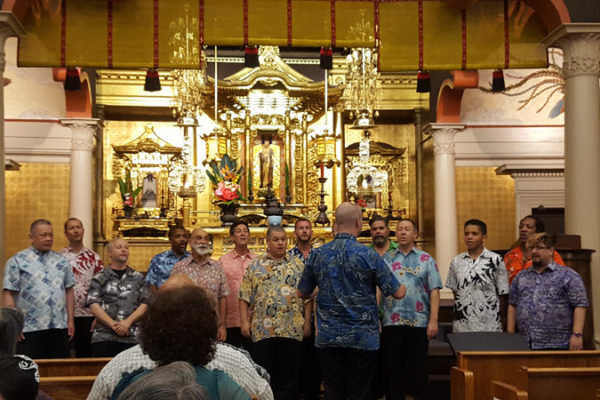 Gay Men's Chorus performs in the Betsuin hondo