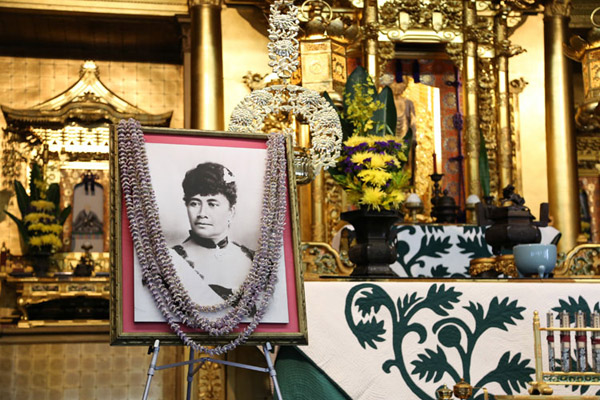 Queen's portrait at the Queen Liliuokalani Tribute Service (A. Kubota)