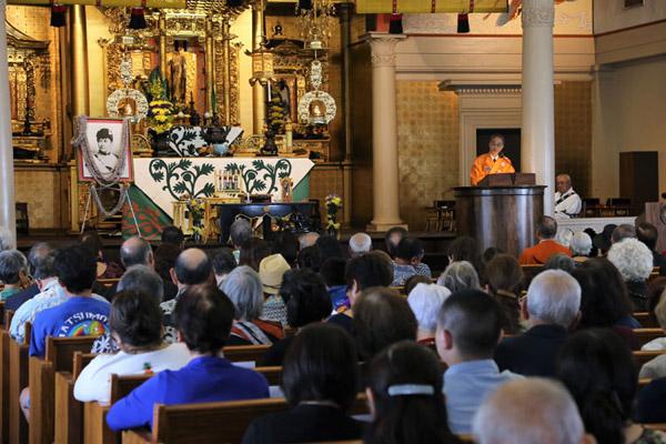 Bishop Matsumoto dharma talk at the Queen Liliuokalani Tribute Service (A. Kubota)