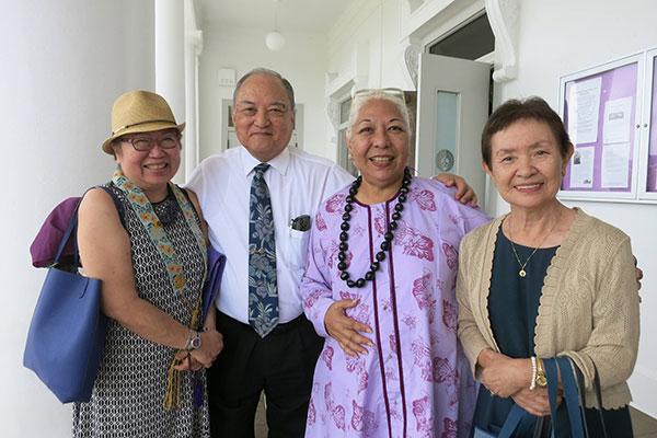 Charlene Kihara, Rev. Thomas Okano, Nola Nahulu, and Michiko Okano at the Queen Liliuokalani Tribute Service (R. Tokumi)