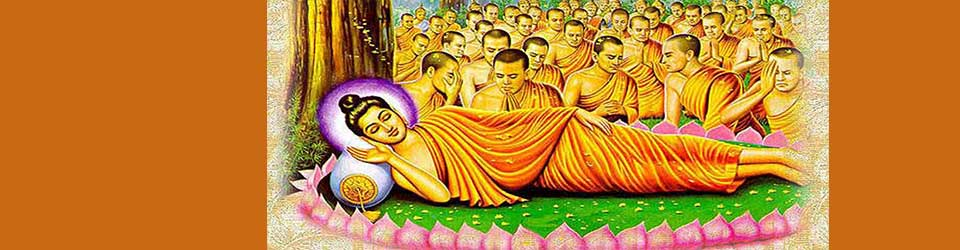 Buddha lying on side attended by many disciples in background