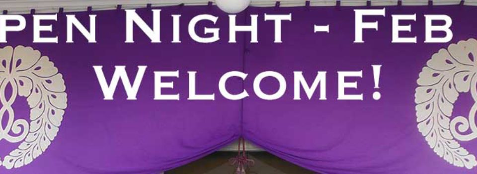 purple banner with welcome message