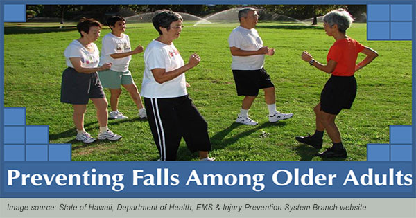 older adults learning fall prevention techniques (DOH image)